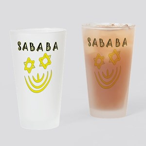 Yellow and Black Sababa Face Drinking Glass