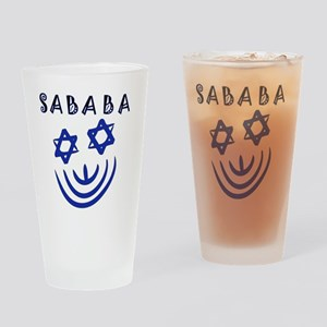 Blue Black Sababa Face Drinking Glass