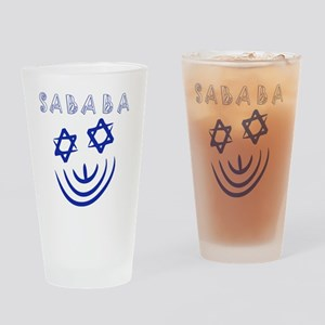 Blue White Sababa Face Drinking Glass