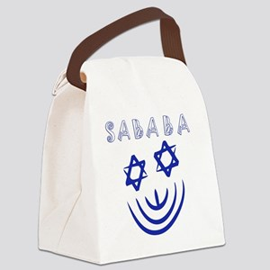 Blue White Sababa Face Canvas Lunch Bag