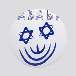 Blue White Sababa Face Round Ornament