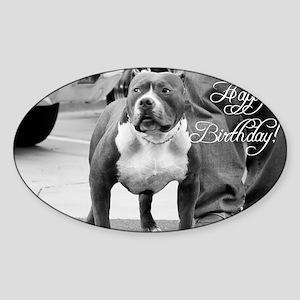 happy birthday pitbull Sticker (Oval)