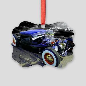 Lil Blue Rat Rod Picture Ornament