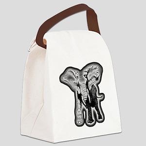 elephant-NEON-CROP Canvas Lunch Bag