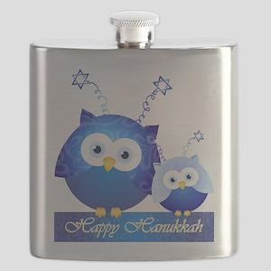 Happy Hanukkah Owls Flask