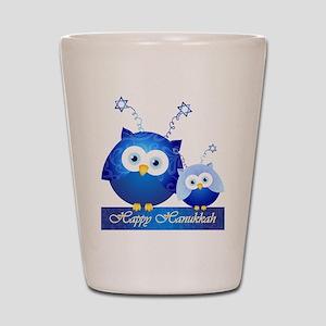 Happy Hanukkah Owls Shot Glass