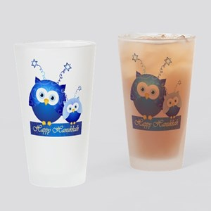 Happy Hanukkah Owls Drinking Glass
