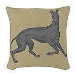 Greyhound Frolic Tan Woven Throw Pillow