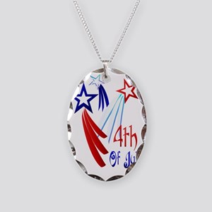 Three Star 4th Trans Necklace Oval Charm