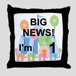Big News Circus 1st Birthday Throw Pillow