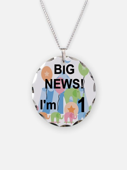 Big News Circus 1st Birthday Necklace Circle Charm
