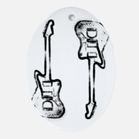 Grunge Twins Oval Ornament