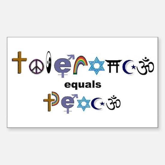 Tolerance = Peace Rectangle Decal