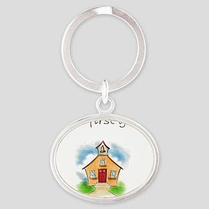 future first grader Oval Keychain