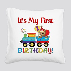 first birthday train Square Canvas Pillow