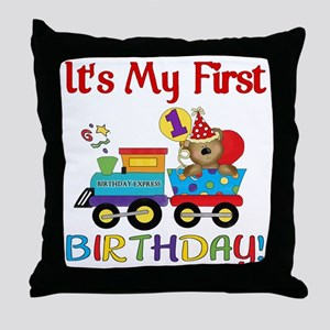 first birthday train Throw Pillow