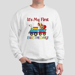 first birthday train Sweatshirt