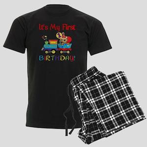first birthday train Men's Dark Pajamas