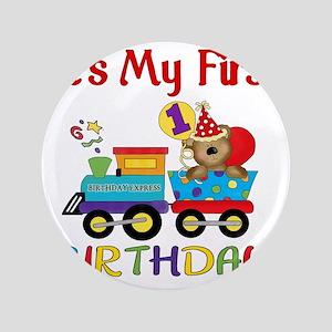 """first birthday train 3.5"""" Button"""