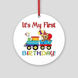 first birthday train Round Ornament