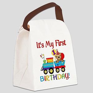 first birthday train Canvas Lunch Bag