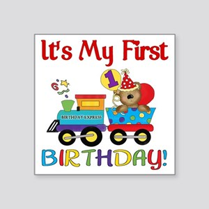 "first birthday train Square Sticker 3"" x 3"""