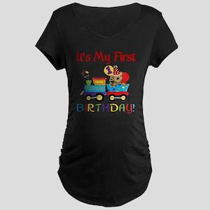first birthday train Maternity Dark T-Shirt