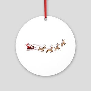 Santa in his Sleigh Ornament (Round)