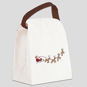 Santa in his Sleigh Canvas Lunch Bag