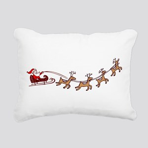 Santa in his Sleigh Rectangular Canvas Pillow