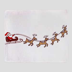 Santa in his Sleigh Throw Blanket