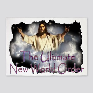 Jesuscominwiththeclouds2text1001 5'x7'Area Rug