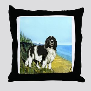 landseer on the beach Throw Pillow