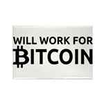 Will Work For Bitcoin Rectangle Magnet (10 pack)