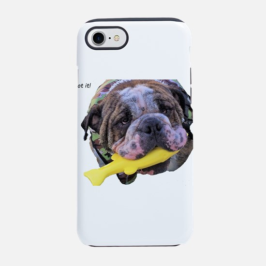 Bulldog with toy fish in mouth iPhone 7 Tough Case