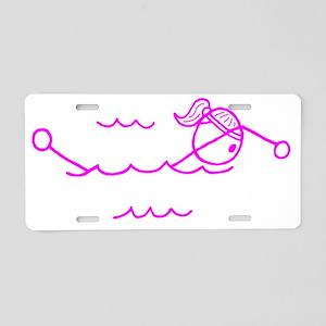 swim pink Aluminum License Plate