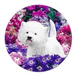 West Highland White Terrier Round Car Magnet