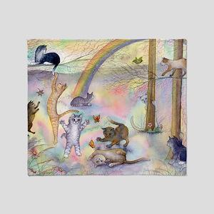 Cats waiting at Rainbow Bridge Throw Blanket