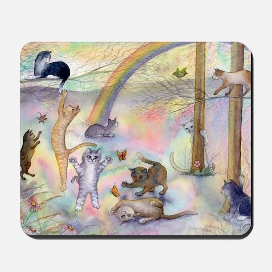 Cats waiting at Rainbow Bridge Mousepad