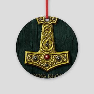 Thors Hammer X Gold- Viking Blood Round Ornament