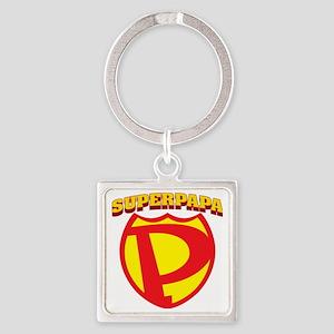 SuperPapa Logo Square Keychain