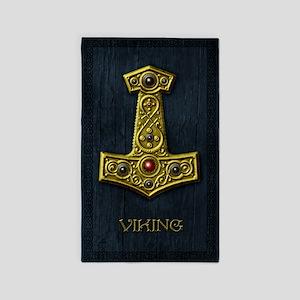 Thors Hammer X - Gold- Viking 3'x5' Area Rug