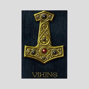 Thors Hammer X - Gold- Viking Rectangle Magnet
