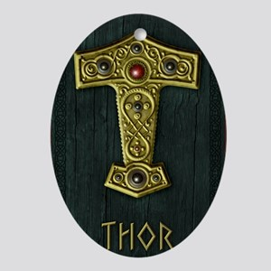 Thors Hammer UP Gold THOR Oval Ornament