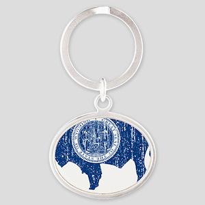 Wyoming_blu_shirt Oval Keychain