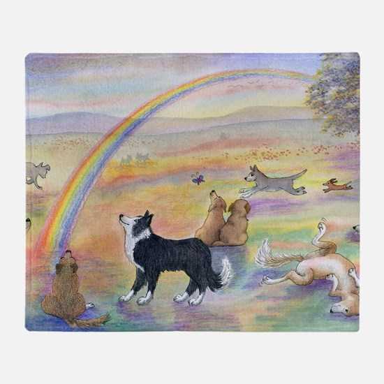 waiting at the rainbow bridge - dogs Throw Blanket