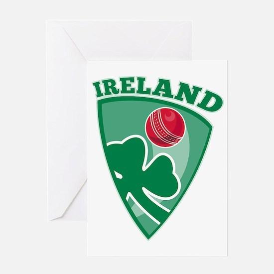 cricket ball shamrock Ireland shield Greeting Card