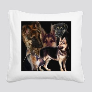 german shpherd collage Square Canvas Pillow