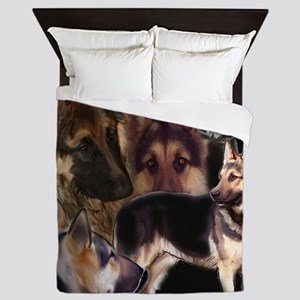 german shpherd collage Queen Duvet