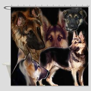 german shpherd collage Shower Curtain